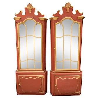 Pair Red & Gold Hollywood Regency Corner Display Cabinets -Dorothy Draper