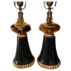 Pair of Unusual Murano Summerso Amber Glass Black & Gold Table Lamps