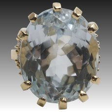 14Kt Gold Aquamarine and Diamond Ring
