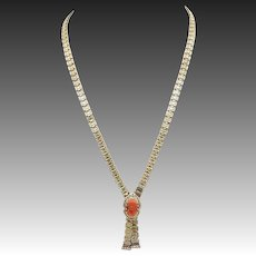 Victorian 12kt Gold Chain and Carved Coral Cameo Necklace