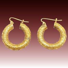Victorian 14kt Gold Etruscan Revival Hoop Earrings