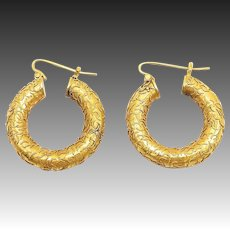 Victorian 14kt Gold Etruscan Revival Hoop Earrings