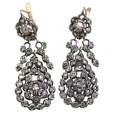 Georgian Silver Front Gold Back Day-Night Diamond Earrings