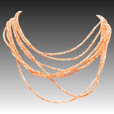 Multi Strand Coral Colored Glass Beaded Necklace