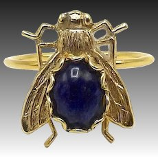 14kt Gold and Lapis Fly Ring