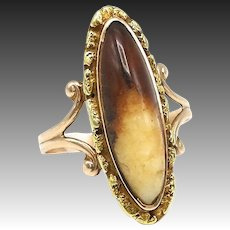 Victorian 18kt Gold and Gold Nugget & Agate Ring