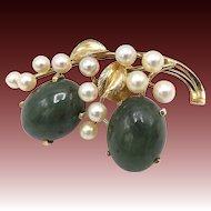 Vintage 14kt Gold, Jadeite, Akoya Pearl Brooch by Ming's of Hawaii