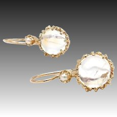Vintage 14kt Gold, Moonstone Cabochon and Seed Pearl Earrings