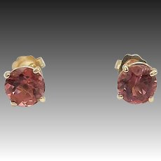 14kt Gold and Pink Tourmaline Post Earrings