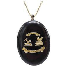 Scottish 20kt Gold and Black Onyx Mourning Locket