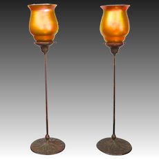 Pair of Tiffany Furnaces Candlesticks With Quezal Iridescent Glass Shades, circa 1910