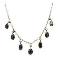 Victorian 12kt & 14kt Gold, White Spinel, and Black Star Sapphire Necklace