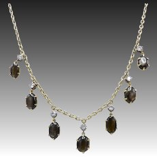 Victorian 12kt Gold, White Spinel, and Black Star Sapphire Necklace