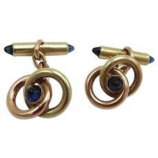 Krementz 14KT Rose & Yellow Gold & Sapphire Cufflinks