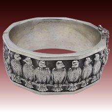 Vintage Bird and Flower Silver Cuff Bracelet
