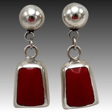 Taxco Red Glass & Sterling Silver Earrings