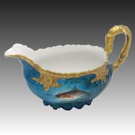 1890's Hand-painted LS&S Limoges Gravy Boat of Fish