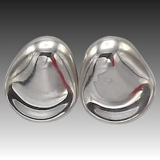 Petal Shaped Sterling Silver Mexican Earrings