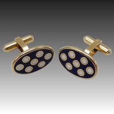Crisp Oval & Dot Pattern Gold Plated Sterling Silver Cuff Links