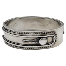 Sterling Silver Victorian Cuff Bracelet with Button Detail