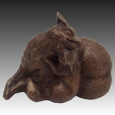 Vintage Fox Bronze Sculpture