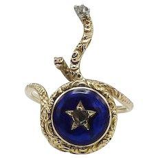 Georgian-Era Diamond and Enamel 15KT Gold Snake Ring