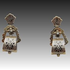 15KT Gold, Pearl and Black Enamel Victorian Tracery Earrings