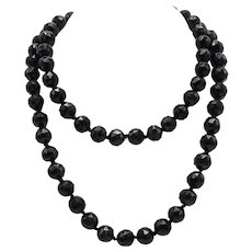 Victorian Hand Faceted Whitby Jet Black Beaded Necklace