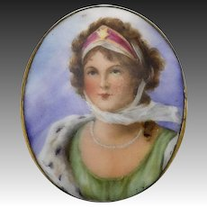 Hand-Painted Portrait Brooch