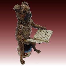 Bergman Cold-Painted Bronze Dog on Toilet