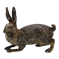 19th C. Austrian Cold-Painted Bronze Rabbit