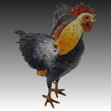 19th Century Cold-Painted Bronze of Rooster