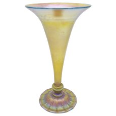 Tiffany Art Nouveau Trumpet Favrile Glass Vase