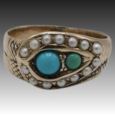 12KT Gold Turquoise and Pearl Victorian Cobra Head Snake Ring