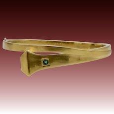 14KT Yellow Gold Edwardian Horse-Shoe Nail Bangle Bracelet