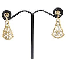 Edwardian14kt Gold and Diamond Filigree Earrings