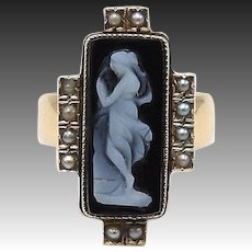 Victorian 18kt Gold, Seed Pearl, Carved Banded Agate Cameo Ring