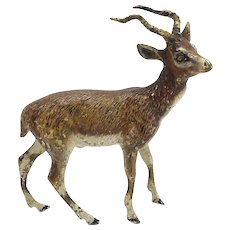 Cold Painted Bronze Mountain Gazelle Statue