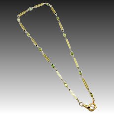 Victorian 12kt Gold Chain and Green Tourmaline Necklace