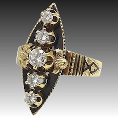 Victorian 14kt Gold, Black Enamel, and Diamond Navette Ring