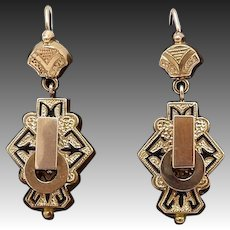 10kt Rose Gold Victorian Taille d'Epargne Earrings