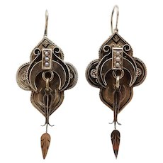 Victorian Era 12KT Gold & Black Enamel Architectural Earrings