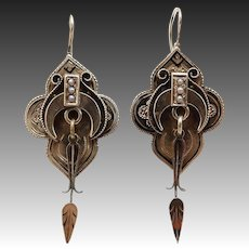 Victorian Era 12KT Gold & Black Enamel Architectural Earrings
