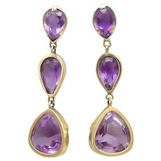 14k Gold and Amethyst Modernist Drop Earrings, 22.25 CTW