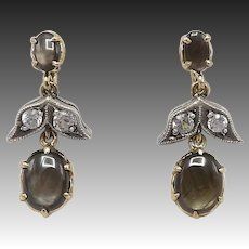 Victorian 14kt Gold, White Spinel, and Black Star Sapphire Earrings