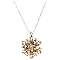 Art Nouveau 14kt Gold, Pearl, Pink Tourmaline, and Diamond Pendant Necklace