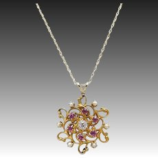 Art Nouveau 14kt Gold, Pearl, Pink Tourmaline, and Diamond Pendant Necklace