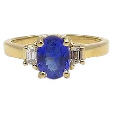 Vintage 14kt Gold, Tanzanite and Diamond Ring