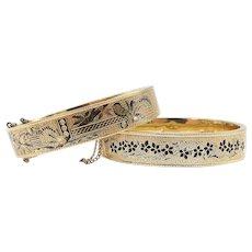 Pair of Victorian 14kt Gold and Black Enamel Taille d'Epargne Wedding Bracelets