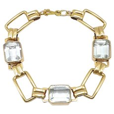 Mid Century 14kt Gold and Aquamarine Bracelet
